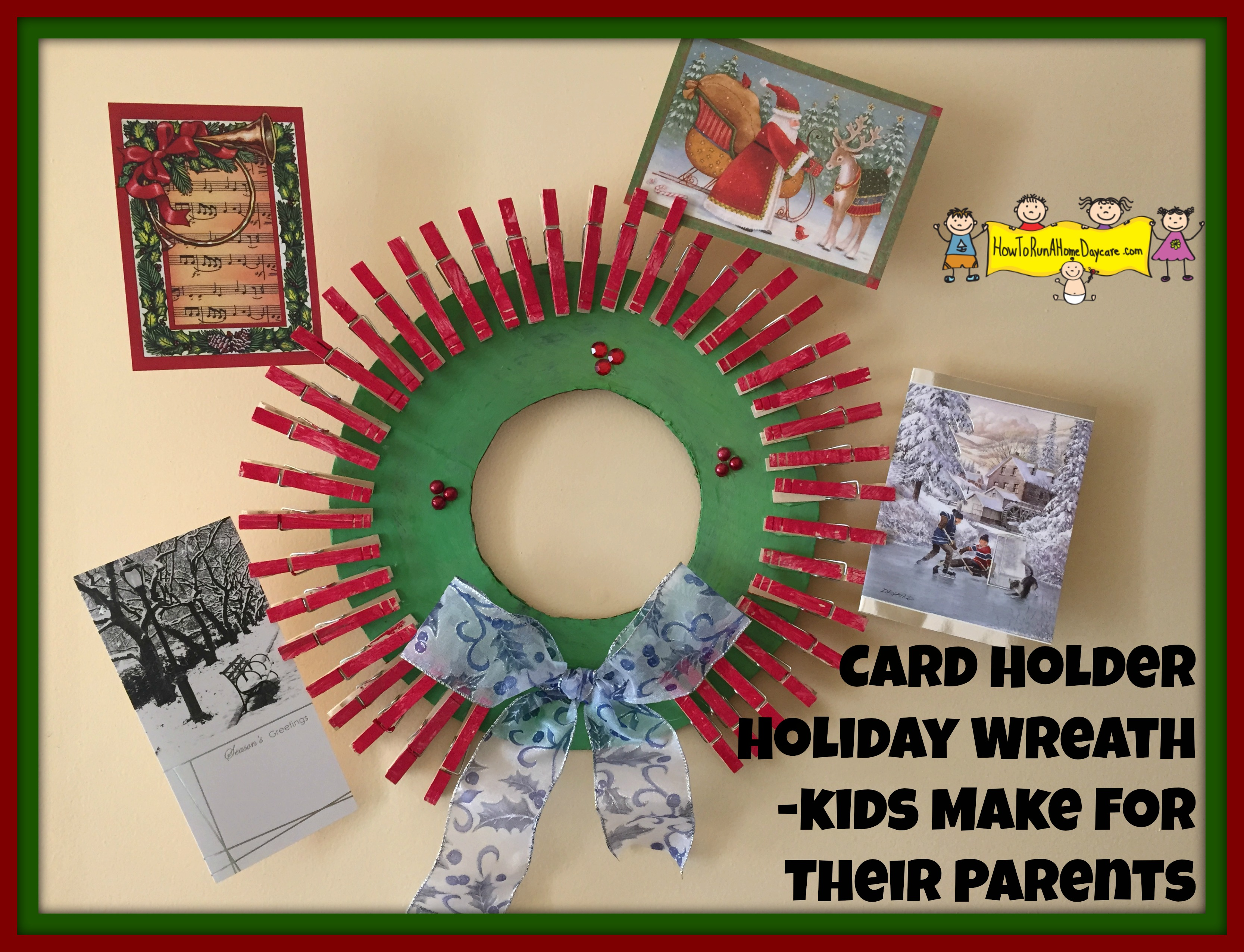 Christmas Gift Ideas For Parents From Preschoolers.Card Holder Holiday Wreath Kids Make For Their Parents