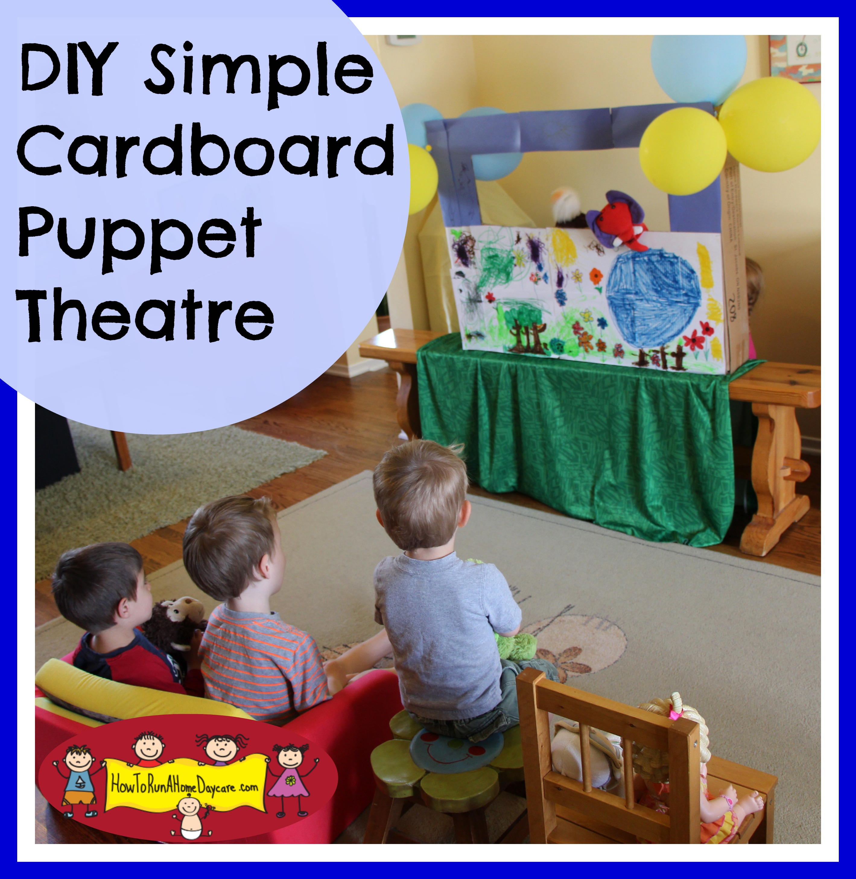 DIY -Simple Cardboard Box Puppet Theatre