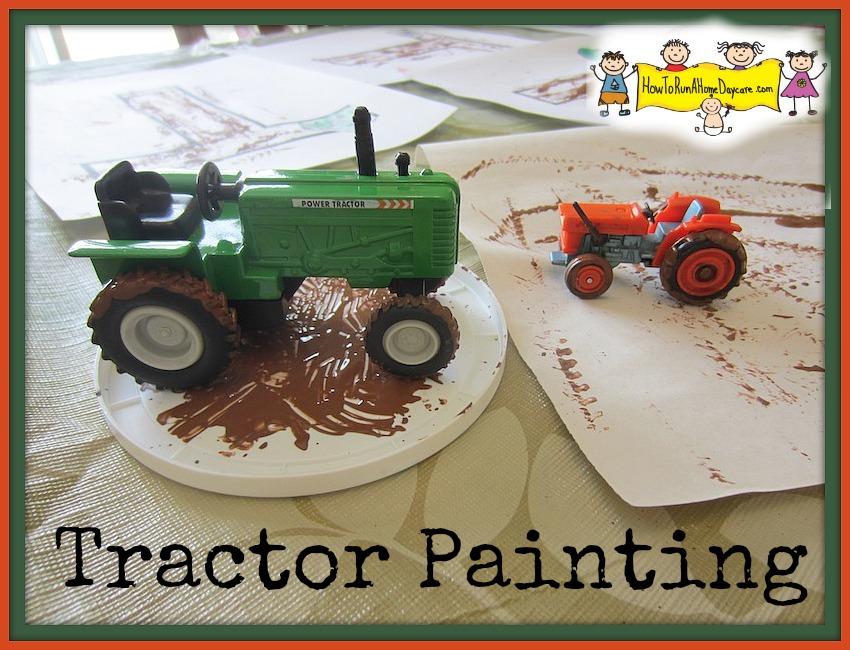 Tractor painting the letter t how to run a home daycare for Tractor art projects