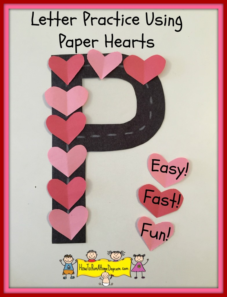 letter practice paper hearts